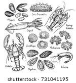seafood big set. ink sketch... | Shutterstock .eps vector #731041195