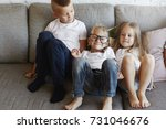 portrait of three european... | Shutterstock . vector #731046676