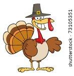 happy turkey cartoon character...   Shutterstock . vector #73105351