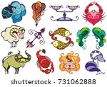 set of zodiac icons  astrology  ... | Shutterstock .eps vector #731062888