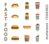 fast food icons set. national... | Shutterstock .eps vector #731065822