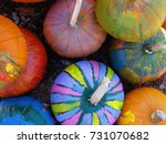 Colorfully Painted Pumpkins In...