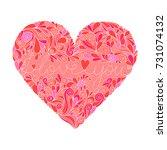 openwork heart with doodle and... | Shutterstock .eps vector #731074132