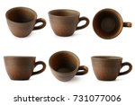 set of ceramic cups with... | Shutterstock . vector #731077006