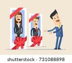 hr manager  offer new employees ... | Shutterstock .eps vector #731088898