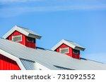 top roof of new red barn | Shutterstock . vector #731092552