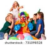 birthday clown to close ears of ... | Shutterstock . vector #731098528