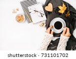 women's hands hold a cup of... | Shutterstock . vector #731101702