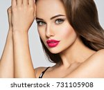 closeup portrait of a beautiful ... | Shutterstock . vector #731105908