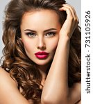 beautiful woman with long brown ... | Shutterstock . vector #731105926