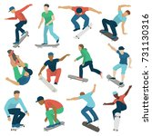 young skateboarder active boys... | Shutterstock .eps vector #731130316