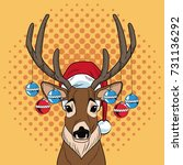 reindeer with balls christmas... | Shutterstock .eps vector #731136292