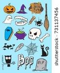 set of halloween doodle art ... | Shutterstock .eps vector #731137456