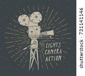 camera vintage label  hand... | Shutterstock .eps vector #731141146