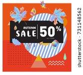 autumn sale memphis style web...   Shutterstock .eps vector #731148562