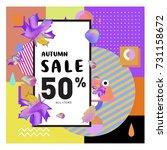 autumn sale memphis style web... | Shutterstock .eps vector #731158672