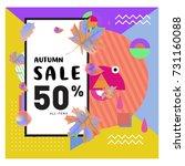 autumn sale memphis style web...   Shutterstock .eps vector #731160088