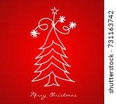 christmas tree greeting card... | Shutterstock .eps vector #731163742