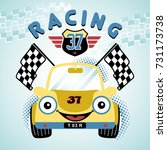race car vector cartoon... | Shutterstock .eps vector #731173738