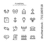 funeral icon set. collection of ... | Shutterstock .eps vector #731180518