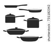 pan  pot  frying icon vector...   Shutterstock .eps vector #731182342