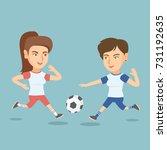 two caucasian sportswomen...   Shutterstock .eps vector #731192635