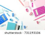 stationary concept  flat lay... | Shutterstock . vector #731193106