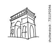 arc de triomphe black line... | Shutterstock .eps vector #731193346