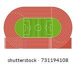 cartoon running track stadium... | Shutterstock .eps vector #731194108