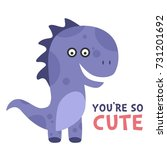 cute and funny dinosaur... | Shutterstock .eps vector #731201692