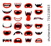 Cute Monsters Mouth Set. Red...