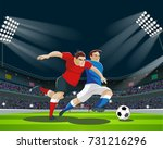 football players are fighting... | Shutterstock .eps vector #731216296