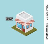 store with sunshade striped red ... | Shutterstock .eps vector #731216902