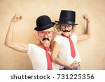 funny woman and kid with fake... | Shutterstock . vector #731225356