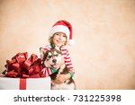 happy child and dog on... | Shutterstock . vector #731225398