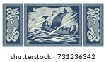 viking design. drakkar sailing... | Shutterstock .eps vector #731236342