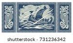 viking design. drakkar sailing... | Shutterstock .eps vector #731236342