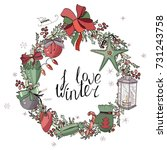 pretty wreath with christmas... | Shutterstock .eps vector #731243758