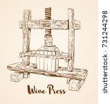 old wooden wine press hand...   Shutterstock .eps vector #731244298