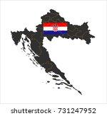 grey map of croatia and...
