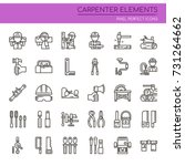 carpenter elements   thin line... | Shutterstock .eps vector #731264662