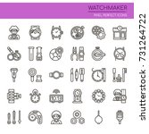 watchmaker   thin line and... | Shutterstock .eps vector #731264722