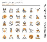 spiritual elements   thin line... | Shutterstock .eps vector #731265076