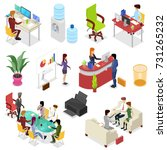 isometric set corporate office... | Shutterstock .eps vector #731265232