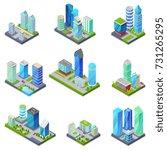 isometric 3d set summer city... | Shutterstock .eps vector #731265295