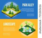 park design isometric posters.... | Shutterstock .eps vector #731265616