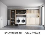 Stock photo modern laundry room interior with white brick walls wooden consoles and shelves with two white 731279635