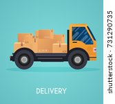 moving truck and cardboard... | Shutterstock .eps vector #731290735