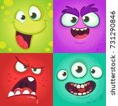 Cartoon Monster Faces Set....