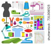 hobby accessories sewing tools... | Shutterstock .eps vector #731308525